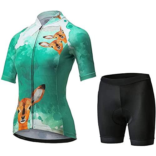 WPW Conjunto de Maillot de Ciclismo para Mujer, Camisetas de Bicicleta de Carretera MTB de Manga Corta de Secado Rápido y Transpirables, Ropa de Bicicleta para Montar al Aire Libre
