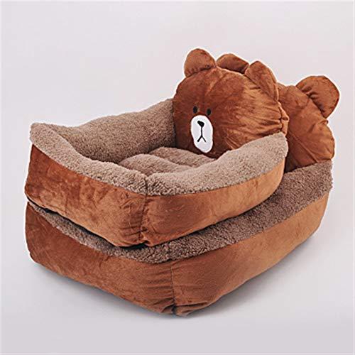 ASDFGT-778 Stich Chinchilla Braunbär Cartoon-Stil Haustier Katze Hund Bett Warme Katze Nest Haustier Bett Hund Matratze Haustierbedarf Hundehäusche Luxusbett (Color : Brown Bear, Size : 65x50x25cm)