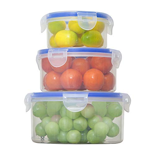 3 Pack Round Plastic Food Storage Containers with Lids lock and lock Lunch Bento Box Set Stackable Leak Proof BPA Free Kitchen Meal Prep