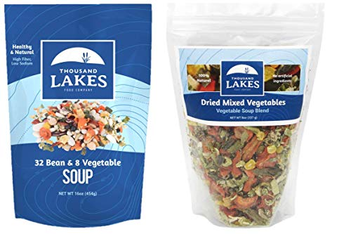 Thousand Lakes Mixed Vegetable Soup Blend and 32 Bean and 8 Vegetable Soup Mix - 2-pack | Low Sodium | No Added Salt
