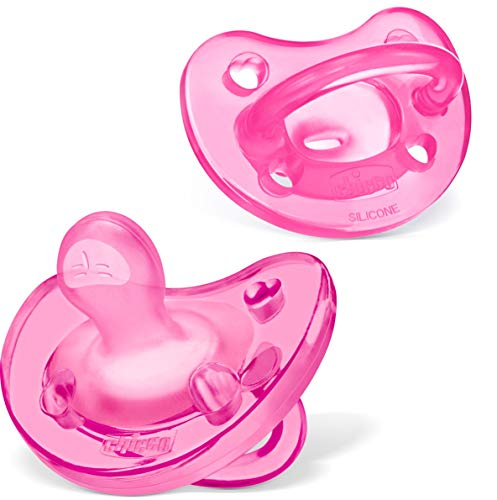 Chicco PhysioForma 100% Soft Silicone One Piece Pacifier for Babies 6-16 Months, Pink, Orthodontic Nipple, BPA-Free, 2-Count in Sterilizing Case