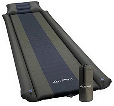 IFORREST Sleeping Pad with Armrest & Pillow - Rollover Protection - Ultra-Comfortable Self-Inflating Camping Pads, (L/XL) - Best Foam Air Mattress for Cot, Tent and Hammock