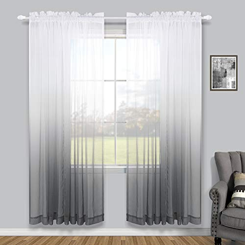 Living Room Curtains 72 Inch Length 2 Panels Set Rod Pocket Semi Clear Translucent Gray Ombre Decorative Window Curtains for Bedroom Decor Girls Decorations Wide 52x72 Length Grey