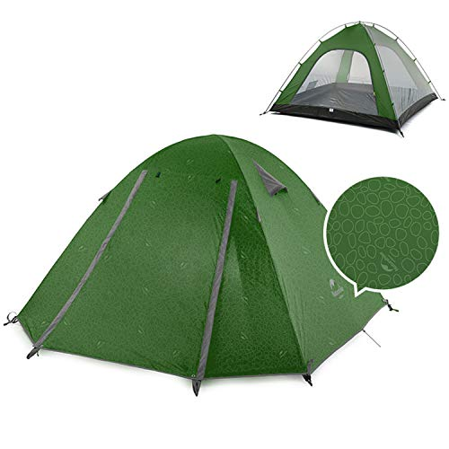 Naturehike Lightweight Backpacking Tent 1/2/3/4 Person 3 Season Ultralight Waterproof Anti-UV Camping Tent, Easy Setup, Large Size for Family, Outdoor, Hiking, Beach, Mountaineering - Dark Green