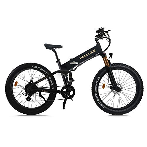 W Wallke Electric Mountain Bike - 26inch Seamless Welding Aluminum Alloy Frame Fat Tire Electric Bicycle 48V 14AH Lithium Battery Adult Bike 750W E-Bike (Matte Black)