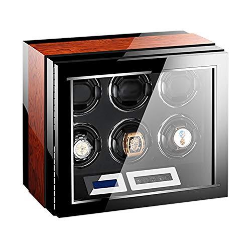 ZNND Mira La Cuerda para Relojes Automáticos, Acabado Piano Control Remoto Pantalla Táctil LCD Iluminación Incorporada Motor Silencioso (Size : 6+0)
