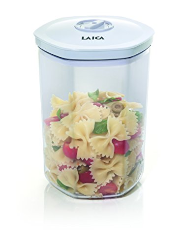 Envase para el envasado al vacío de alimentos cilindrico con capacidad para 2 litros Laica VT3304 incluye tubo para conectar con la máquina de vacío.
