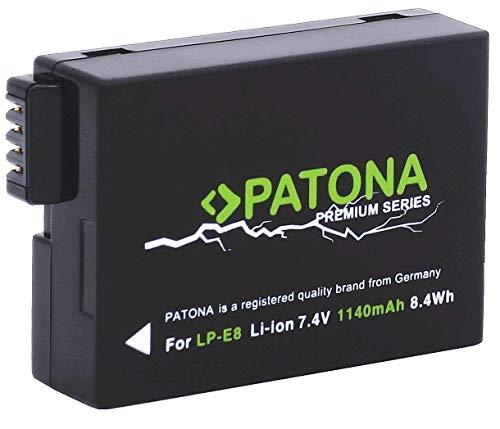 PATONA Premium Ersatz für Akku Canon LP-E8 (1140mAh) mit Infochip (neueste Generation 100 Prozent kompatibel) zu Canon EOS 550D 600D 650D 700D