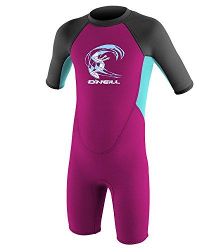 O'Neill Toddler Reactor-2 2mm Back Zip Short Sleeve Spring Wetsuit, Berry/Light Aqua/Graphite, 2