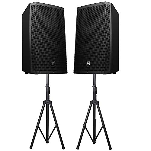 """Electro-Voice ZLX-15BT 1000W 15"""" Powered Speakers Loudspeaker with Innovative Cabinet Design Bluetooth & Class‑D Power Amplifier & EV‑patented Signal Synchronized Transducers - Pair with Speaker Stand"""