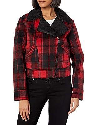 Jessica Simpson Women's Fleetwood Sherpa Moto Jacket, Rio Red Crosshair Plaid, Medium by Jessica Simpson