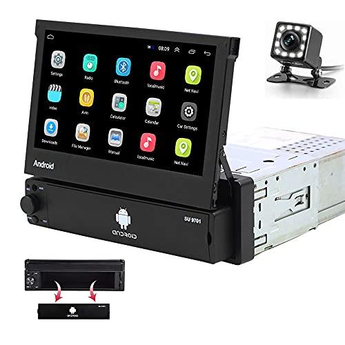 Hikity 1 DIN Radio de Coche Android 7 Pulgadas Pantalla táctil Abatible Estéreo de Coche Soporta FM Bluetooth WiFi Navegación GPS Enlace con el Espejo para Teléfono Android/iOS + Cámara de Seguridad