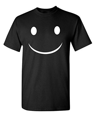 Happy Smile Graphic Novelty Sarcastic Funny T Shirt XL Black
