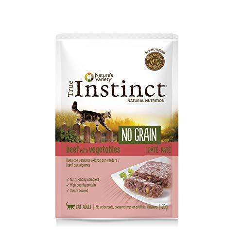 True Instinct No Grain Adult - Paté Cibo per Gatti, Manzo- 8 Pezzi da 70 g, Totale: 560 g