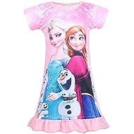 LQSZ Girls Princess Nightgown Short Sleeve Pajamas Dress Nightie Sleepwear 3-8Y Pink Rose