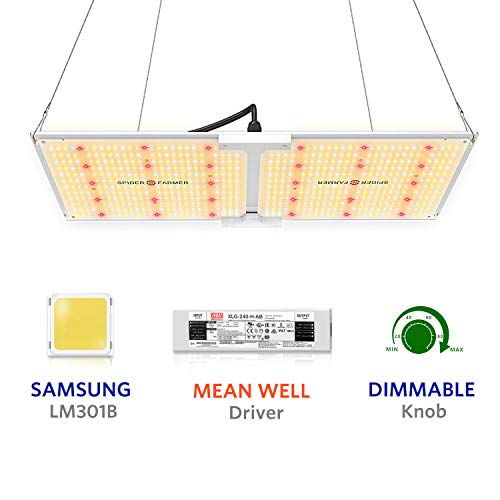 SPIDER FARMER SF-2000 LED Grow Light 2x4 ft Flower Compatible with Samsung LM301B Diodes & MeanWell Driver Dimmable Grow Lights Full Spectrum for Indoor Hydroponic Plants Veg Bloom 606pcs LEDs