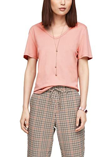 s.Oliver Damen Jerseyshirt mit V-Ausschnitt blush 42