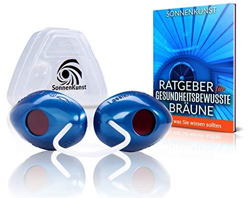 Premium Solarium Schutzbrille - Verbessertes Konzept [2020] - inkl. E-Book und Aufbewahrungsbox - hochwertige UV Schutzbrille für Sonnenbaden geprüft gemäß EN170
