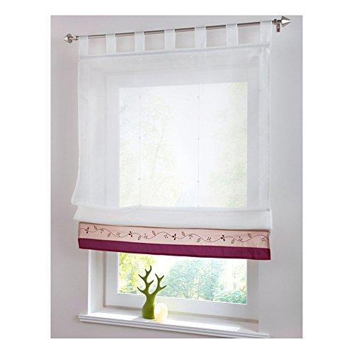 KOU-DECO Schlaufen Raffgardine Stickerei Raffrollo mit Satinband Voile Transparente Weiße Vorhang mit Stangen 1 Stück (purpurrot, 100x155cm)