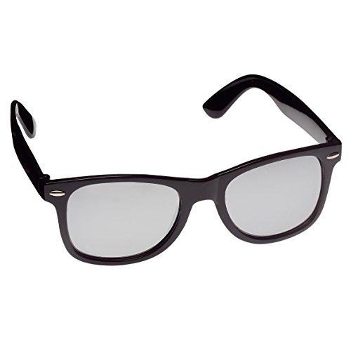 elasto form Hochwertige Sonnenbrille Retrobrille Vintage Stil Damen & Herren Unisex Nerdbrille (schwarz und Silber verspiegelt)