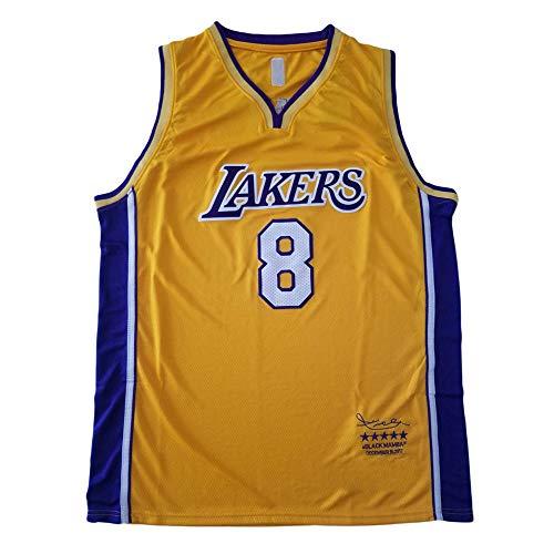 WANLN Camisetas De La NBA para Hombre Lakers # 8 Kobe Bryant Retired Retro Basketball Jersey Mesh Swingman Jersey Sin Mangas Chaleco Deportivo Top,Amarillo,M