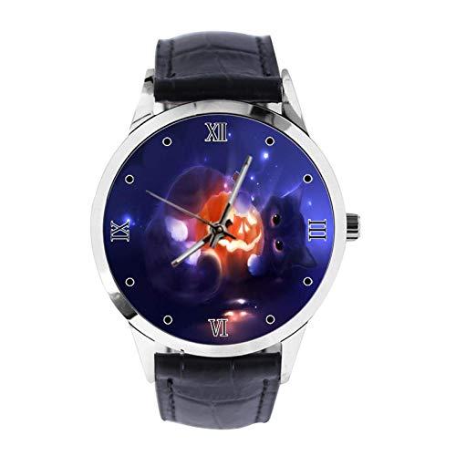 Reloj de pulsera unisex analógico de cuarzo con correa de piel para niños y niñas