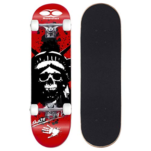 Movendless YD-0008 Complete Skateboard 31? inches, 7 Layer Maple Wood Double Kick Concave Skate Board