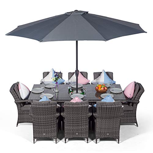 Arizona Large Rattan Dining Set Rectangular 8 Seater Grey Rattan Table & Chairs Set with Ice Bucket Drinks Cooler | Outdoor Poly Rattan Garden Dining Furniture Set with Parasol & Cover
