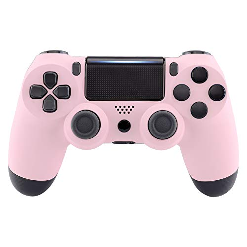 eXtremeRate Sakura Pink Faceplate Cover, Soft Touch Front Housing Shell Case, Comfortable Soft Grip Replacement Kit for Playstation 4 PS4 Slim PS4 Pro Controller (CUH-ZCT2 JDM-040 JDM-050 JDM-055)
