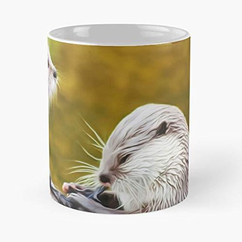 Taza de café de cerámica de 325 ml con diseño de animales nutrias salvajes y nutrias para comer muerde John Best de 325 ml