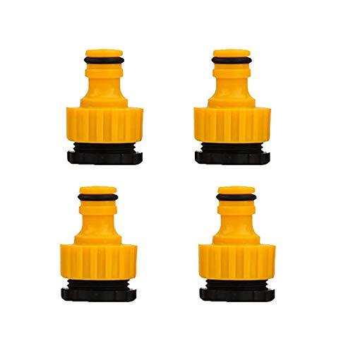 Wohlstand 4 Pieza Manguera Conector 1/2 Pulgadas y 3/4 Pulgadas tamaño 2 Pack plástico Manguera de jardín Grifo Conector, Amarillo