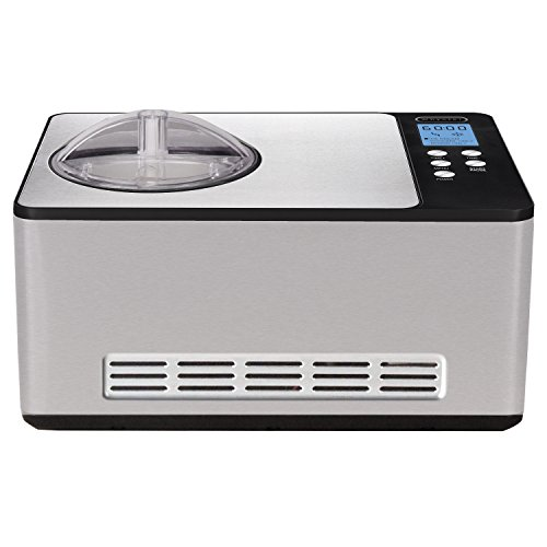 Whynter ICM-200LS Automatic Ice Cream Maker 2 Quart Capacity Stainless Steel, Built-in Compressor, no pre-freezing, LCD Digital Display, Timer, 2.1
