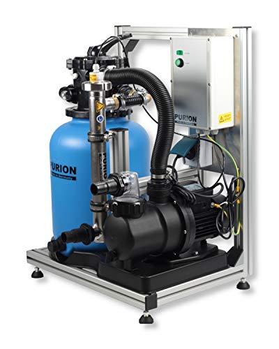 PURION Pool 20 hochwertige Poolanlage 3 in 1 Filtersystem mit Sedimentfilter, Pumpe und hochleistungs UV Lampe (Edelstahl mit Lebensdauerüberwachung)