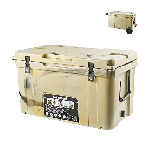 Aoodor 78QT Roto Molded Cooler Grizzly Bear Resistant with Basket and Wheels