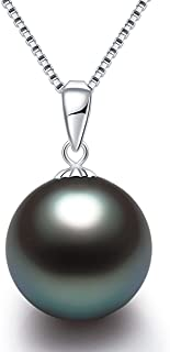South Sea Genuine Tahitian Pearl Pendant Necklace Saltwater Cultured 9-10mm Round AAAA Quality Black Pearl Solitaire Neckl...