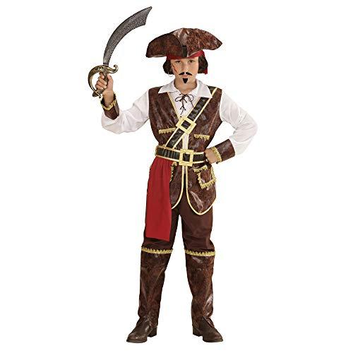 WIDMANN 73036?Disfraz para niños Pirate of Coconut Beach, camiseta, chaleco, cinturón, aqyaa03000, pantalones, überziehstiefel y sombrero, color marrón, tamaño 128