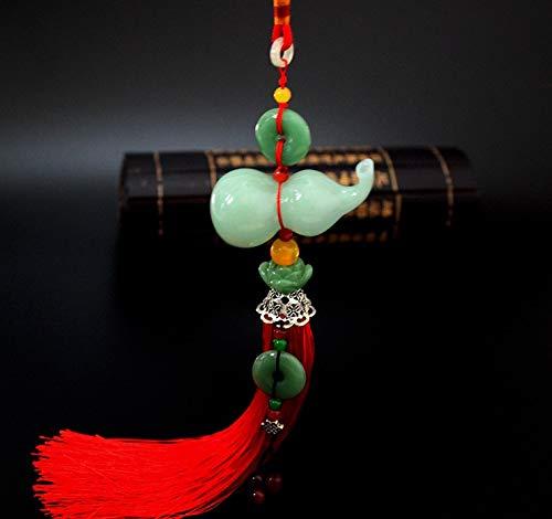 FJKWLC Car Pendant 1 Piece Car Rear-View Mirror Jade Gourd Pendant Perfume Container Tassel Ornament Best Gift