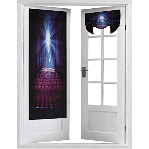 """French Door Curtains, Movie Theater with Empty Seats and Projector High Contrast Image, 2 Panel-26"""" X 68"""" Tie Up Shades Window Curtains for Bedroom"""