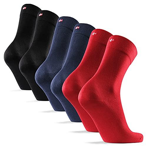 6 Pares Calcetines de Bambú para Hombre y Mujer, Calcetines Ejecutivos Super Suaves, Cómodos, Transpirables y Duraderos, Corte Clásico (Multicolor (2x Azul Marino, 2x Negro, 2x Rojo Bermellón), 35-38)