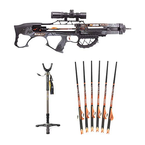 Ravin Crossbows 400 FPS R26 Crossbow (Dusk Camo) with Vanguard Shooting Stick and Six Arrows with HME Redneck Broadheads Bundle