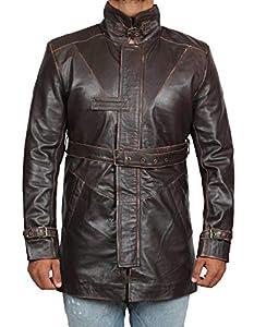 Brown Trench Coat Men - Distressed Black Genuine Leather Long Overcoat
