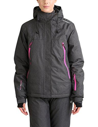 Ultrasport Damen Mel Ski- & Outdoorjacke, Dunkelgrau/Pink, M