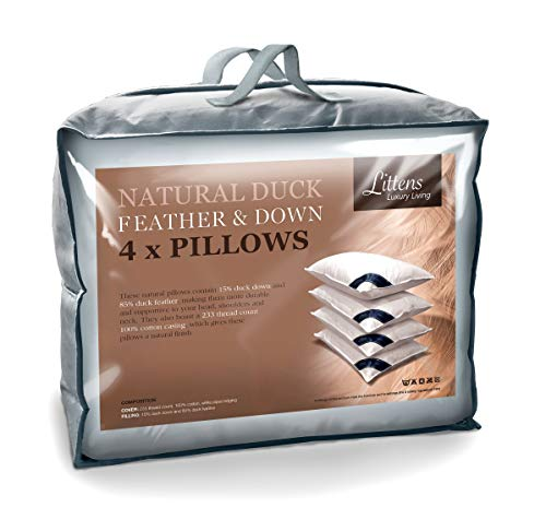 Littens 4 Pack Duck Feather & Down Pillows, 15% Down, 230TC 100% Down-Proof...