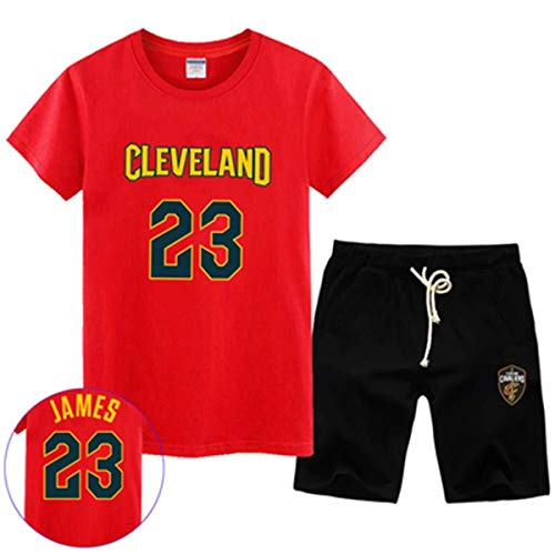 LLSDLS T-Shirt NBA Fan Trikot Set Cleveland Cavaliers Retired Commemorative Kurzarm Herren Sweatshirt James # 23 Basketball Halbarm Sport Set Blau-3-XXXXXL T-Shirt (Color : Red-2, Size : X-Large)