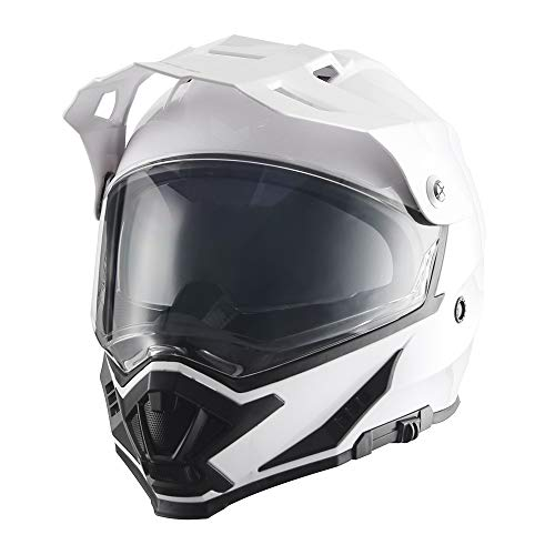 triangle Motorcycle Modular Full Face Helmet Off-Road Sport ATV Motocross Dirt Bike Dual Visor [DOT Approved ] (Small, Glossy White)