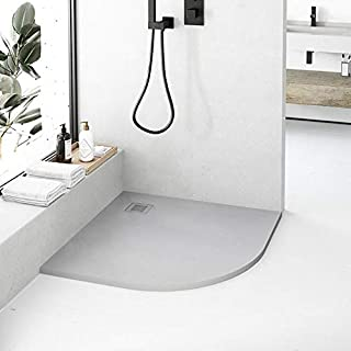 Plato de Ducha de Resina CURVE de NUOVVO® - 90 cm de ancho GRIS PIEDRA 90x90cm-R50: Amazon.es: Bricolaje y herramientas