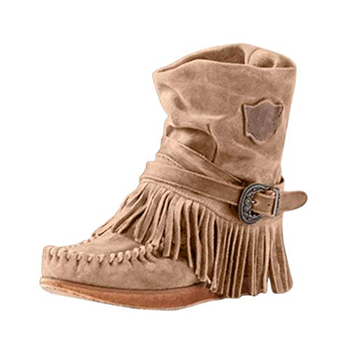 BaZhaHei Zapatillas de Mujer Moda Botines Classic Trenzado Tanga Tachonado Talón Tacón Ancho Plantilla Forrada de Piel Botines con Flecos Damas Romanas Estilo Borla Botas Cortas Zapatos Planos