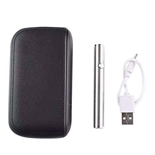 Nicoone Caja de cigarrillos, funda de cuero portátil, caja de almacenamiento de cigarrillos de viaje con cargador USB, diseño de tamaño de bolsillo, negro