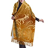 Tengyuntong Pashmina Wrap Manta Bufanda, Mujer Pashmina Bufanda, Dorada Vintage Gradiente De Gran Tamaño Pañuelo Abrigo Chal Borlas Acogedora Checked Pashmina