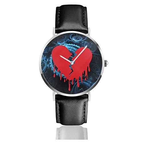 Reloj Heart Break con Correa de Cuero Casual Pulsera de Cuarzo de Acero Inoxidable Correa de Cuero Negro y Esfera Fina